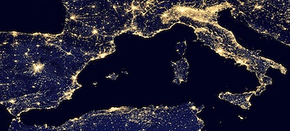 Cape Town to London - Night over the Med