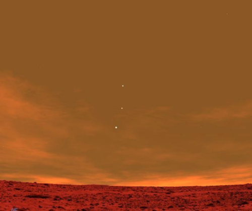 Earth Jupiter Venus seen from Mars
